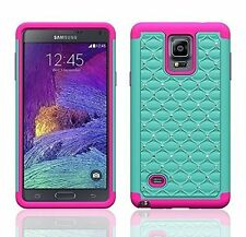 For Samsung Galaxy Note 4 Heavy Duty Armor Diamond Hybrid Hard + Soft Cover Case