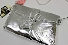 Vintage 1980's Leather Metallic Silver Purse Old Stock New Tags Leather Ind. USA