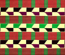 African Fabric 1/2 Yard Cotton IVORY GREEN RED PURPLE Wax Kente Print