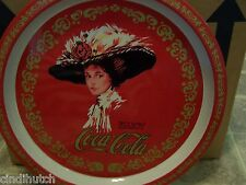 Vintage COCA COLA Metal Serving Tray 1982 Enjoy Coca Cola Round Victorian Woman