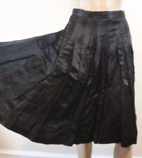 Anthropologie Built by Wendy Pleated Midi Skirt S Black Satin Riding Full Witchy