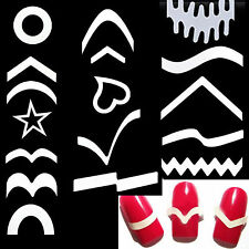 12 Sheets DIY French Nail Art Tips Tape Guide Stencil Manicure Form Stickers
