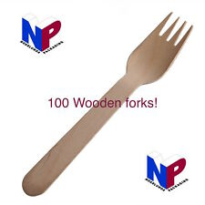 100x Disposable wooden forks! Eco! Cutlery, tableware, catering, utensil, picnic