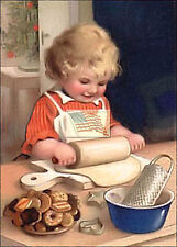 REPRINT PICTURE older print GIRL MAKING COOKIE DOUGH IN THE KITCHEN baking 5x7