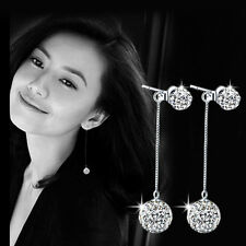 Silver Disco Ball Elements Dangle Earring Loop Crystal Hoop Earrings Jewelry