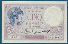 FRANCE - 5 FRANCS VIOLET Fayette n° 3.17 du 4=5=1933.CE en SUP   N.54909 890