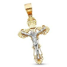 Jesus Crucifix INRI Pendant 14k Yellow & White Gold Cross Charm Two Tone Solid