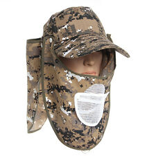 360° Neck Cover Ear Flap Outdoor UV Sun Protection Fishing Cap Hiking Hat Camo