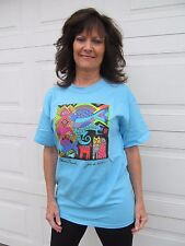 Laurel Burch Joie de Vivre Aqua Blue Short Sleeve Cotton Tee Shirt New Large