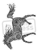 A7 'Decorative Floral Horse' Unmounted Rubber Stamp (SP004708)