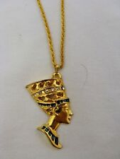 "Egyptian Gold Plated Metal Queen Nefertiti Necklace Chain 1.5"" Great Quality"
