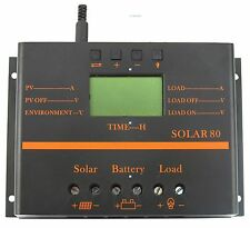 80A LCD Solar Panel Battery Regulator Charge Discharge Controller 12V 24V & USB