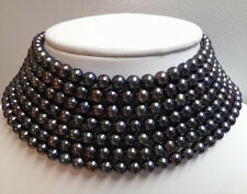 AAA + Beautiful 5-6MM  black freshwater pearl necklace 100 inches