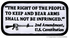 2nd AMENDMENT PATCH iron-on RIGHT TO BEAR ARMS embroidered GUN RIFLE AR15 WHITE