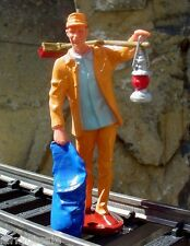 Tunnel Mtce Man Figurine w Broom & Lantern 1/24 Scale G Diorama Accessory Item