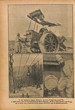 Poilus Soldats Steam Roller Deutsches Heer Cable Aérien  WWI 1916 ILLUSTRATION