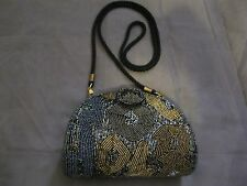 Vintage Iridescent Black And Gold Beaded Clutch Purse