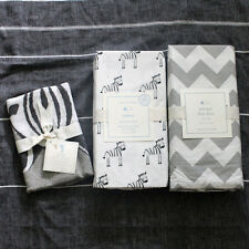 POTTERY BARN KIDS Zachary Zebra crib fitted sheet sham Skirt 3pc gray