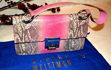 STUART WEITZMAN Pink/Grey/Off White Snakeskin Handbag Purse Clutch