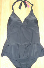 Resort - Stylish Black Halterneck Skirted Swimming Costume - Size 16 - BNWT