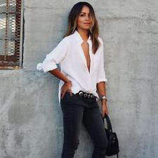 Summer Sexy Women Chiffon Casual Blouse Loose Long Sleeve Shirt Fashion Tops