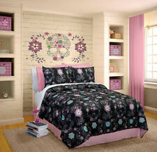 Black Pink Purple Blue Floral Skulls 4 Piece Comforter Bedding Set Queen Size