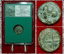 Ancient Roman Coin Syracuse Arethusa On Obverse Four Spoke Wheel on Reverse