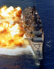 "USS Iowa firing a 15-gun  Battleship 14 x 11"" Photo Print"