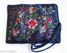 Fashion Women's Handmade Silk flower Roll Jewelry Bag New Gift