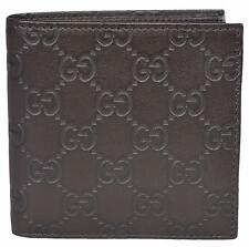 NEW Gucci Men's 150413 2044 Brown Leather GG Guccissima W/Coin Bifold Wallet