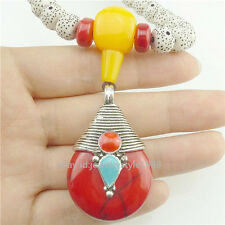 Antique Tibet Silver Buddhism Red Resin Pendant Resin Beads Necklace Alloy