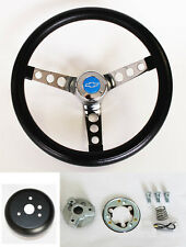 "Chevelle Camaro Nova GRANT Black Steering Wheel 13 1/2"" Blue Bowtie Horn Cap"