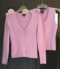 ANN TAYLOR LOVELY LAVENDER SILK Twinset Sweater Set L/S Cardigan (S) & Tank (MP)