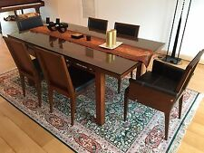 Beautiful black leather and Narra wood dining set