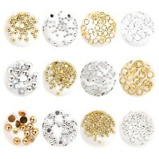 BMC Gold and Silver Metal Hoop Half Cut Round Manicure Nail Polish Art Studs