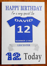 LEICESTER FAN Unofficial PERSONALISED Football Birthday Card (Blue Shirt)