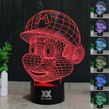 Creative Super Mario 3D Illusion LED Night Light 7 colour Desk Table lamp Gifts
