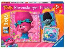 PUZZLE TROLLS RAVENSBURGER 3 x 49 Piezas KIDS CHILDRENS TROLLS JIGSAW 08013
