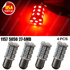 4X Pure Red 1157 BAY15D 5050 27-SMD Brake Stop Tail LED Light 7528 2057 1157A