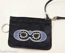 NWT Coach 45609 Signature Applique Black and Multicolor Skinny Wristlet Wallet