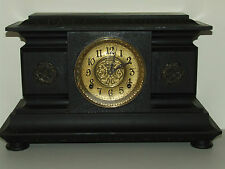 Antique Working 19th C. Ingraham Victorian Elegant Footed Ebony Mantel Clock