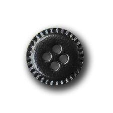 10 NERO LUCIDO quattro buco bottoni in similpelle (1133sc-18)
