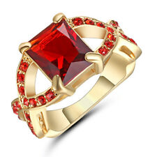 Jewelry Fashion Ring Size 7 Red Ruby CZ New Man's Yellow Gold Filled Wedding
