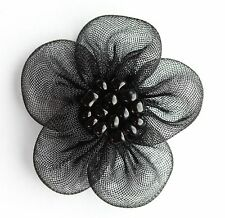 10 pieces organza flowers Sew On Appliques Colour: Black #1