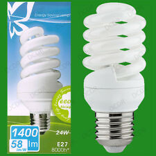 8x 24W Low Energy CFL 4000K Cool White Spiral Light Bulbs, ES E27 Screw Lamps