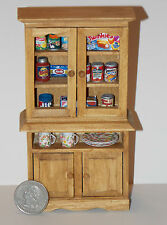 Dollhouse Miniature Kitchen Cabinet with food & dishes 1:12   Hutch Cupboard