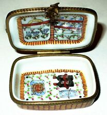 LIMOGES BOX - VINTAGE - FRENCH 'WICKER' PICNIC BASKET - FOOD & DISHES & UTENSILS