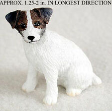 Jack Russell Terrier Mini Resin Hand Painted Dog Figurine Statue Brwn/Wht Rough