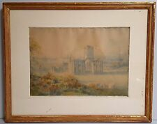 ORIGINAL WATERCOLOR by Rev D Jackson 1880s RIEVAULX ABBEY 9 x13 Restored in 1993