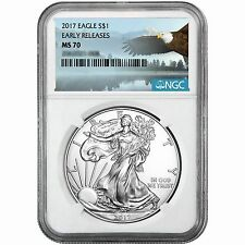 2017 Silver American Eagle MS70ER NGC Bald Eagle Label